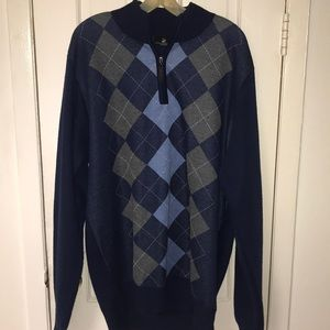 Beverly Hills polo club navy blue argyle sweater